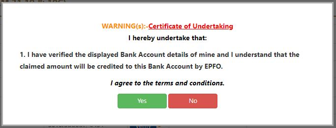 Bank Account Confirmation in EPFO Login