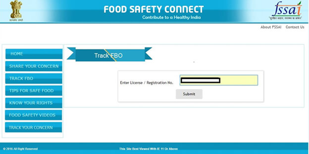 Enter your Fssai License Number