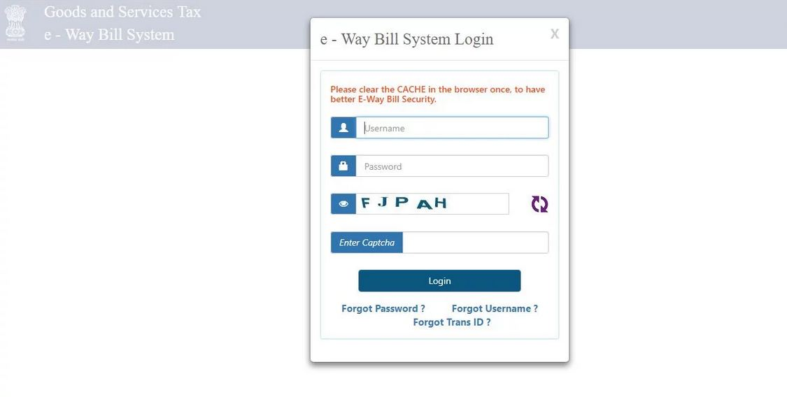 Login to E-Way Bill Portal