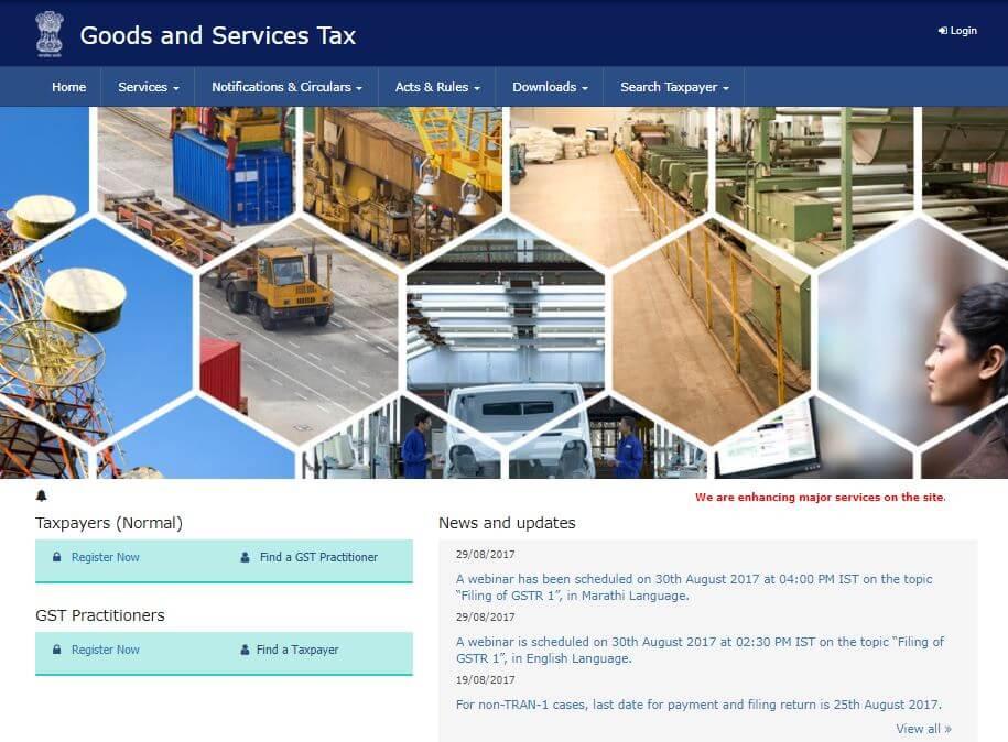 Login to GST Portal for GST Registration