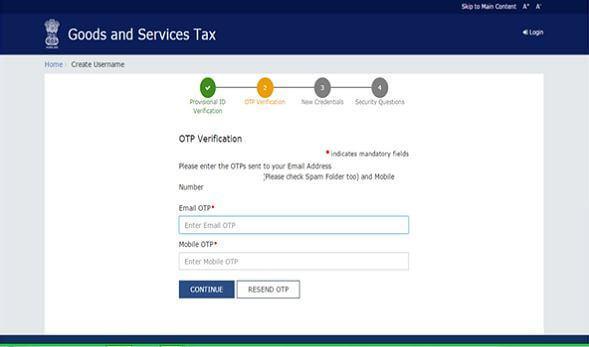 OTP Verification while GST Registration