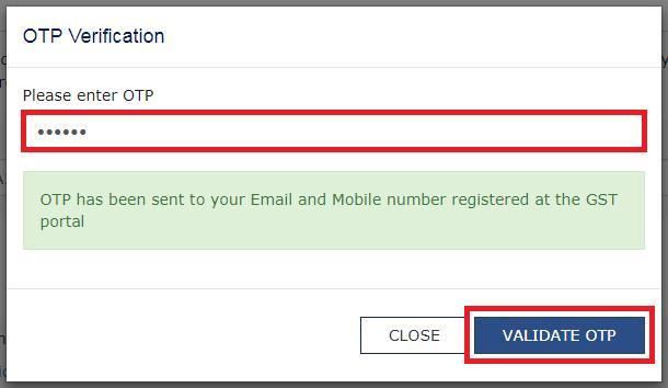 Validation OTP for GST Registration Cancellation